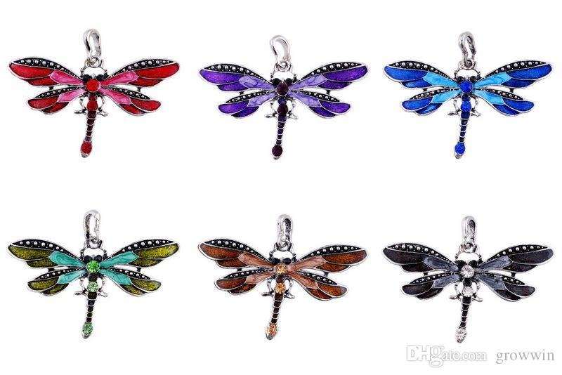 Vintage Dragonfly Crystal Pendant Necklace Lace String Anisoptera Women Statement Necklaces 6 Colors Bronze Retro Jewelry D0062-1