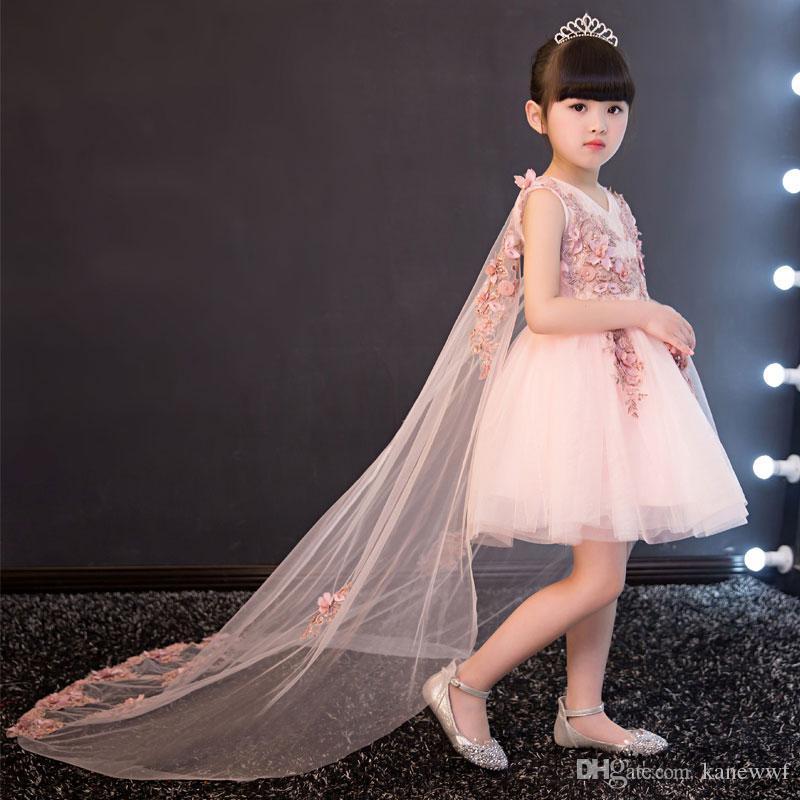 Glizt Aplikler Tül Çiçek Kız Elbise Uzun Firar Prenses Balo Parti Düğün Elbise İlk Communion elbise Kız için