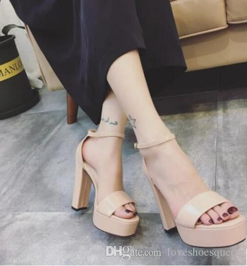 2017 Strappy Heels Sandalias Gladiador grueso talón Mujeres Moda Sexy Ladies hebilla Tacones altos Mujeres Sandalias