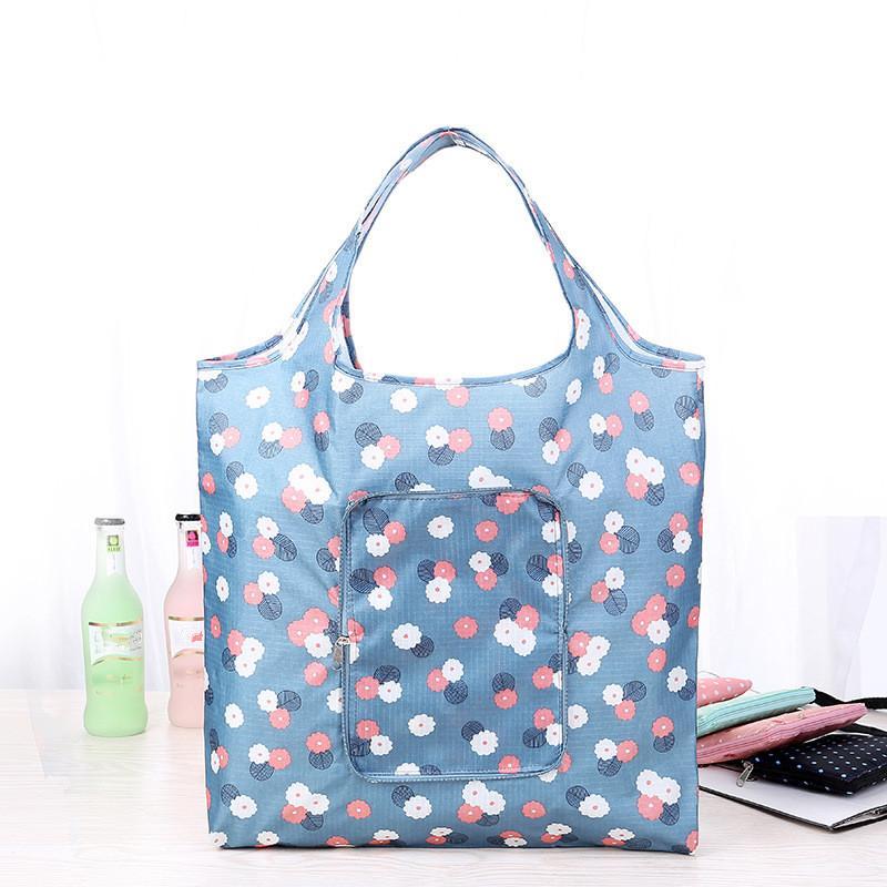 Atacado-amigáveis de Eco Moda Folding saco de compras do bolsas femininas Waterproof Printing dobrável reutilizável Household bolsas de lona