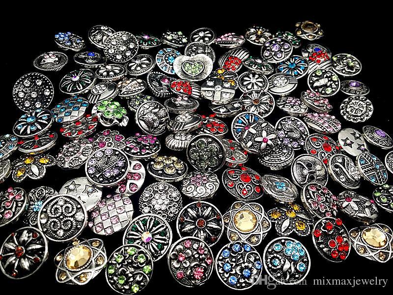 all'ingrosso assortiti misti diversi stili vintage 18mm strass zenzero moschettoni bottoni fai da te accessori gioielli noosa