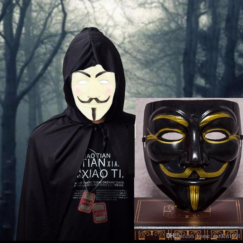 50pcs V Mask Masquerade Masks For Vendetta Anonymous Valentine Ball Party Decoration Full Face Halloween Super Scary Party Mask Black V