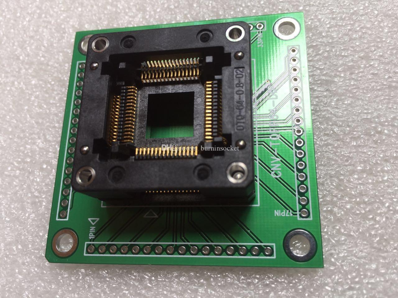 Enplas ic test socket OTQ-64-0.8-02 with pcb board CNV-TQFP64-DIP QFP64PIN 0.8MM pitch burn in socket