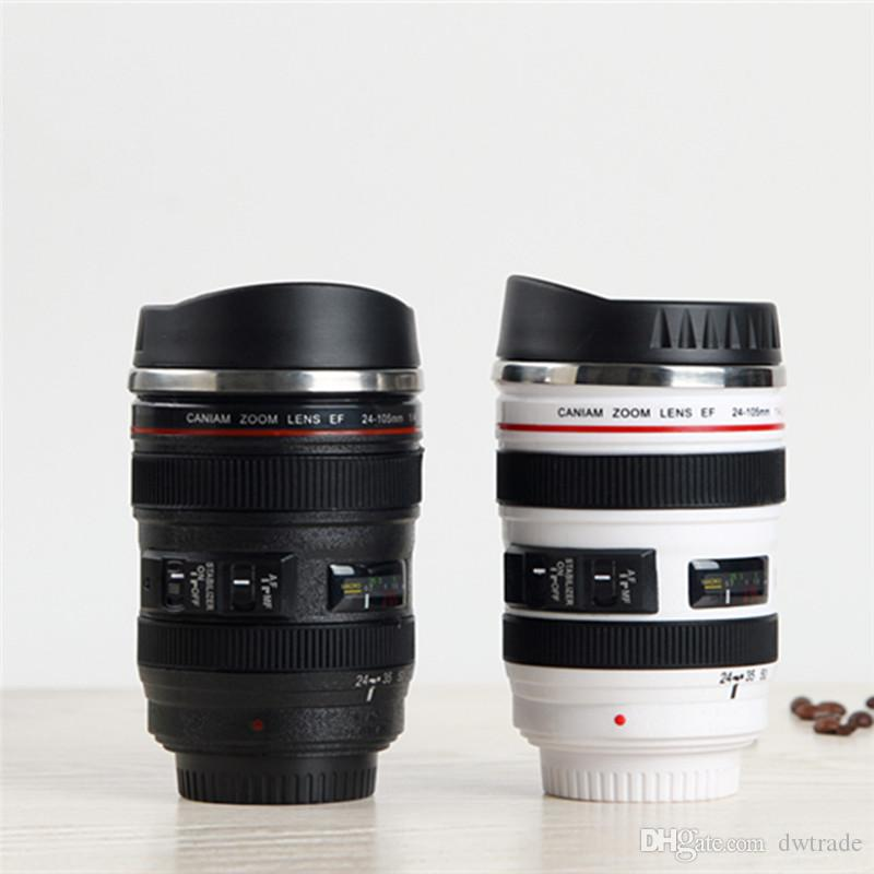 2017 5th Generation stainless steel liner travel thermal Coffee camera lens mug cup 400ML Black DHL Free