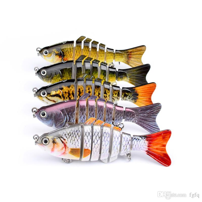 10cm 15.3g Fishing Wobblers 7 Segments Swimbait Crankbait Fishing Lure Bait with Artificial Hooks - Lifelike Fishing Lure