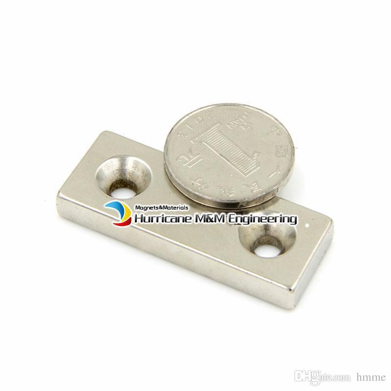 20pcs NdFeB Fix Magnet 50x20x5mm with 2 M5 Screw Countersunk Holes Block N42 Neodymium Rare Earth Permanent Magnet