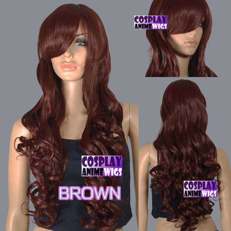Parrucche riccamente lunghe parrucche riccamente stilizzate ricche di colore marrone scuro da 80 cm 967_033