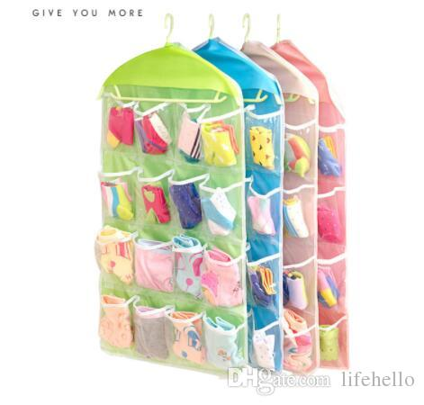 16 Grid Clothing Socks Underwear Storage Container Walls Hang Bag Wardrobe Door Pocket Sorting Bags WB568