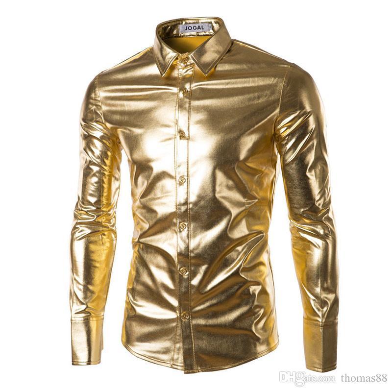 stile Nightclub metallizzata camicia da uomo a maniche corte con bottoni JOGAL lucida