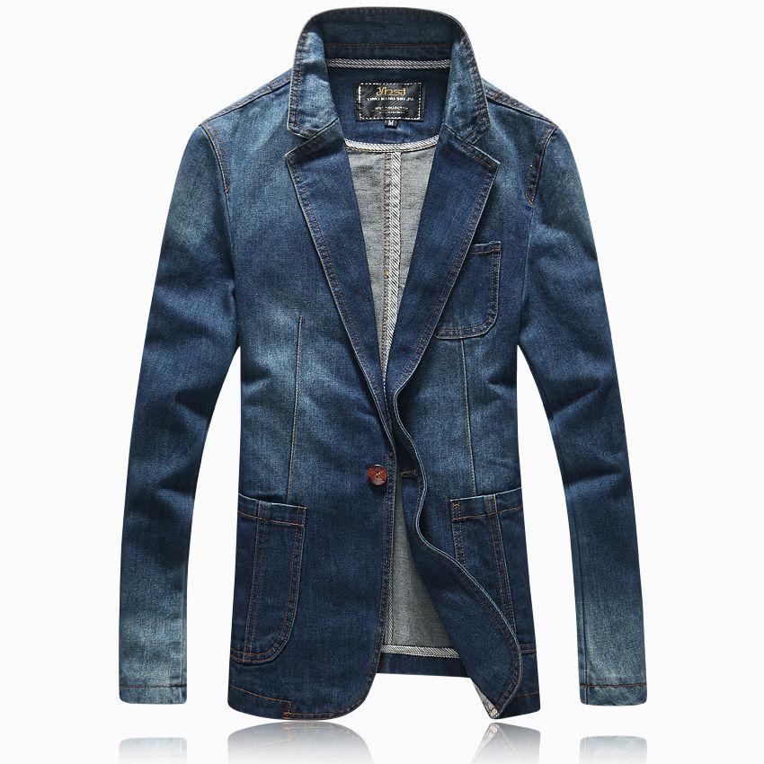 Gros-Hot 2016 printemps automne casual Blazer hommes marée courant mâle slim fit denim costume unique bouton jean veste manteau bleu clair 4XL