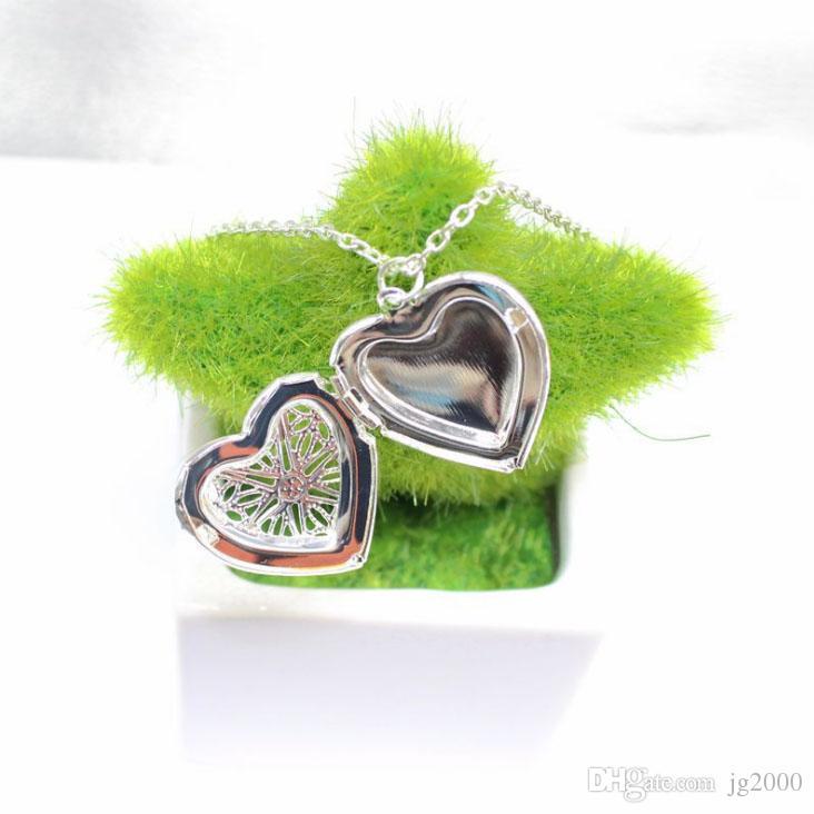 Hohle herzförmige Pfirsich Halskette Anhänger können kleine Fotos 2-Farben-Optionen Kleidung Zubehör setzenl