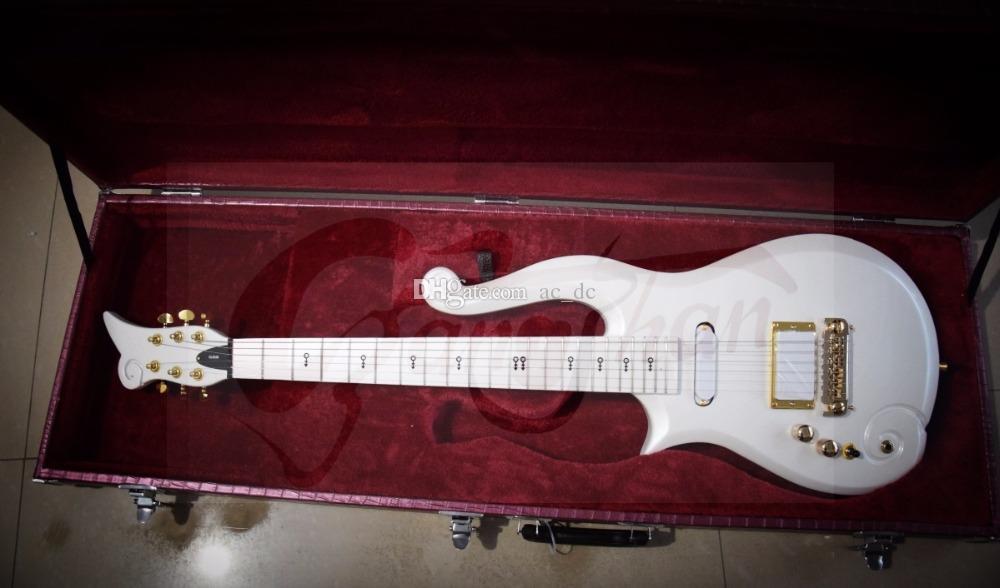 Promotion! Diamant Prince-White Cloud Guitare électrique Alder Corps, Manche érable Micros blanc, Symbole Inlay, Violet Crocodile cuir Hardcase