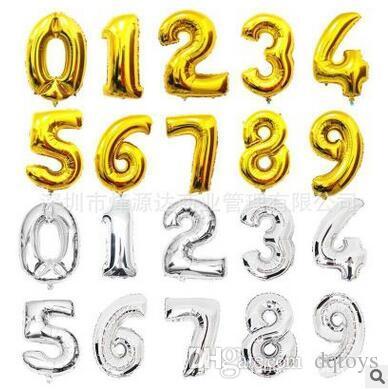 0-9 16 inç Numarası Alüminyum filmi balon Doğum Günü partisi düzeni süslemeleri Alüminyum folyo balonlar Düğün dekorasyon balon