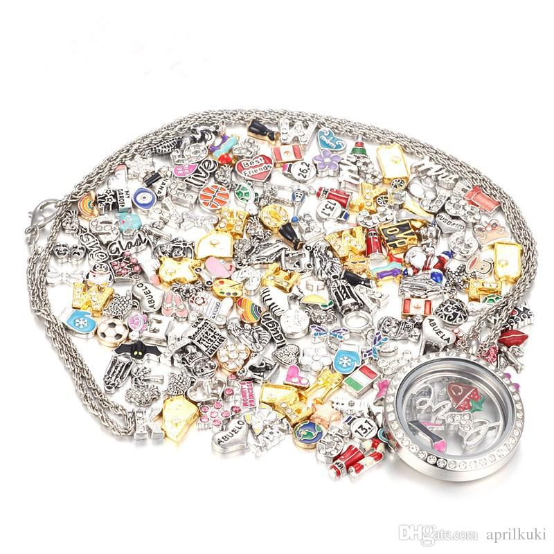 50 Pcs/lot Top Sale Mix Design Floating Charms for Glass Living Memory Locket Pendant DIY Floating Charms Lockets Jewelry Accessories