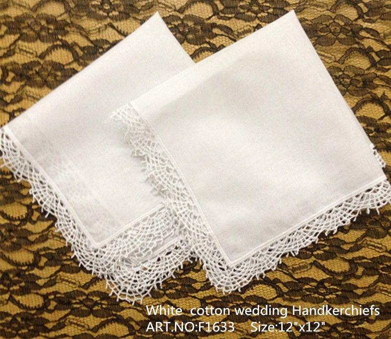 """Ücretsiz Kargo Ev Tekstili 12 Adet / grup 12x12 """"Yüksek Kalite Beyaz yumuşak% 100% pamuk Bayanlar için Mendil Işlemeli Dantel tarak kenarları gelin"""