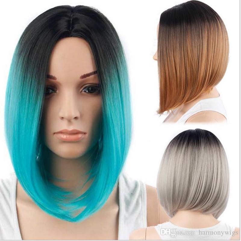 Parrucche per capelli sintetici parrucche corta bob parrucca ombre color 12 pollice resistente al calore resistente ai capelli sintetici stile popolare
