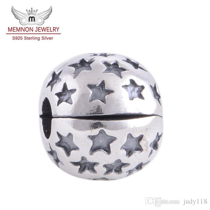 Memnon Jewery 925 Sterling Silver Lock Clip Stopper Loose Charm Beads And Star Patterns DIY Jewelry Fit Thread Troll Charms Bracelet KT041-N