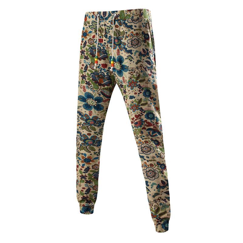 Vente en gros- Pantalons de survêtement en coton et en lin Hommes Fitness Hip Hop Vêtements Cargo Pantalons Casual Joggers Slim fit Motif Imprimé pantalon masculin HK04