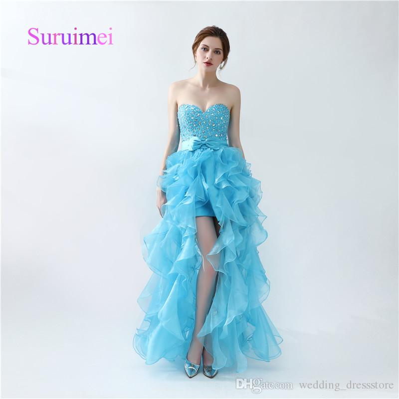 Simple A Line Prom Dresses Side Split Ruffles Sweetheart Crystal Organza Formal Long Evening Gowns Floor Length Fast Shipping