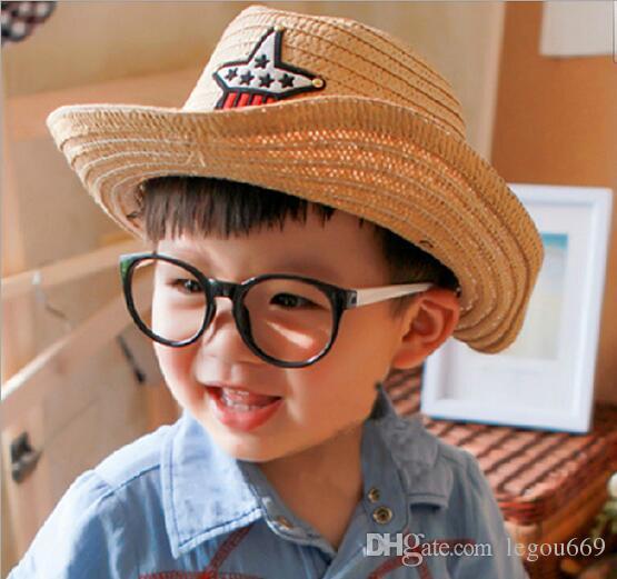 2017 nouveau bébé été chapeaux de paille enfants cinq étoiles capuchons de soleil bébé chapeau de cow-boy enfants top chapeau jazz cap bébé topee