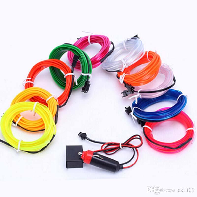 10 Colors Flexible 3M EL Wire Rope Tube Neon Cold Light Glow Party Car Decoration With Cigarette Lighter 12V DHL Ship