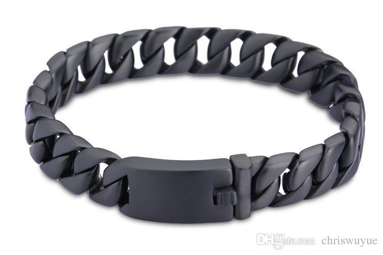 New Mens meninos cadeia Curb Fazer a ligação Preto Tom pulseira de aço inoxidável Jóias moda Gift For Man NNB26