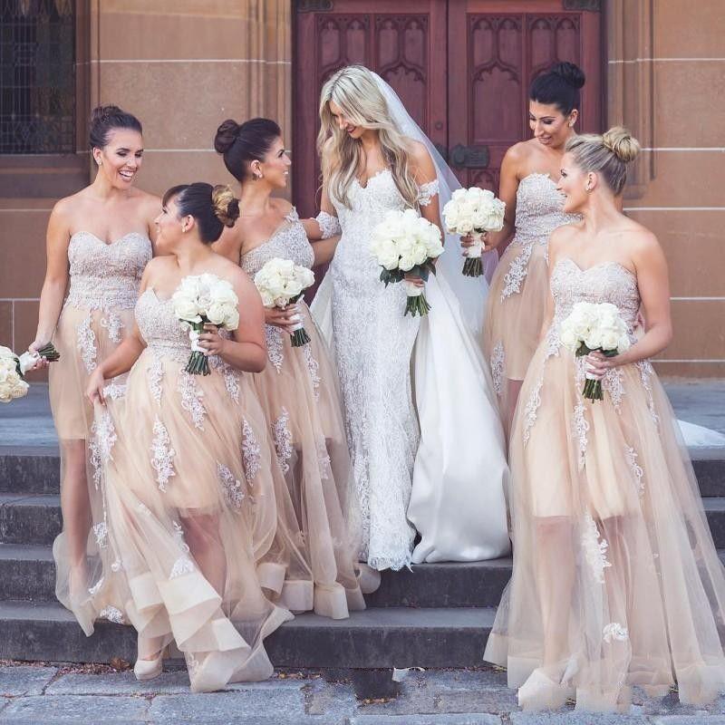 2019 cheap Champagne Tulle Long Bridesmaid Dresse Lace Appliqued Sweetheart Plus Size Bridesmaids Wedding Guest Dress