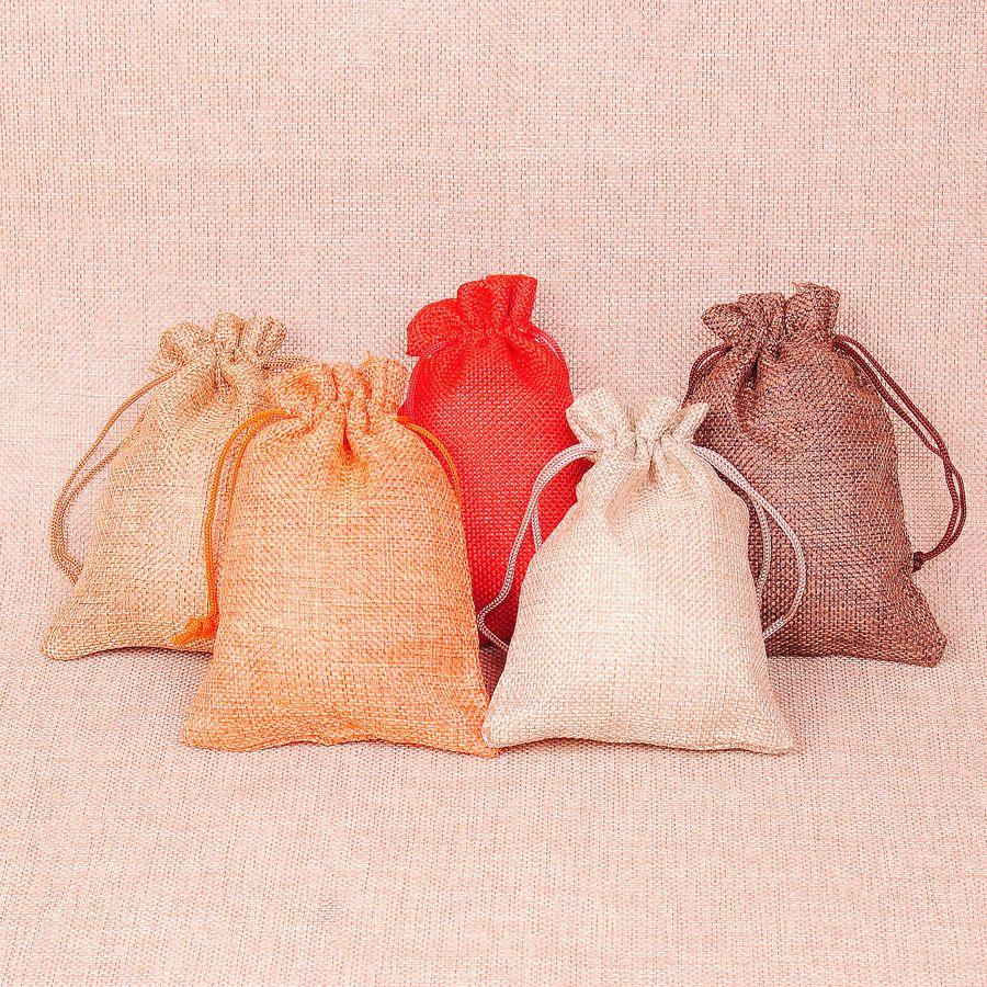 Takı çanta İpli kılıfı keten pamuk demeti ağız çay poşeti hediye çanta depolama organizasyon süslemeleri parti favor çanta 3.93x5.5 inç