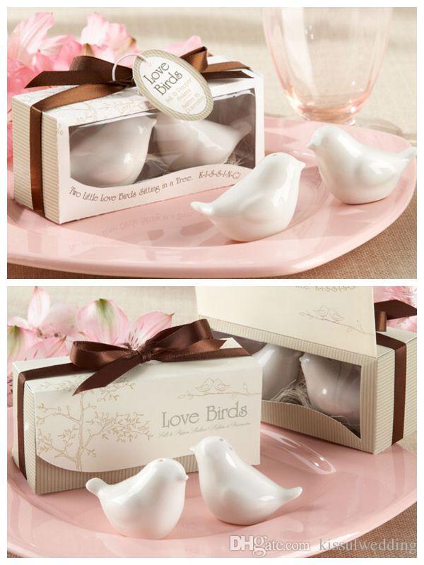 Decoração de Casamento mais barato Presente do Amor aves Sal e Pimenta Shakers favores Do Casamento para lembrancinhas e lembranças de casamento 200 Pcs = 100 caixas