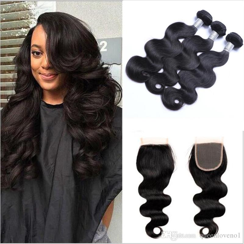 Brazilian Hair Bundles With Closure 8 30inch Double Weft Human Hair Extensions Dyeable Remy Virgin Hair Weave Body Wave Wavy Body Wave Human Hair Weave Natural Human Hair Weave From Queenloveno1 32 97