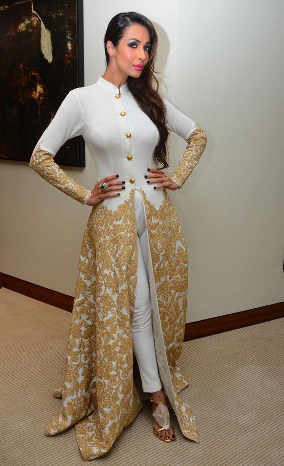 2017 Saudi Evening Gowns Long Sleeves High Neck Caftan with Pants Gold Bottons Appliques Malaika Arora Khan Arab formal kaften