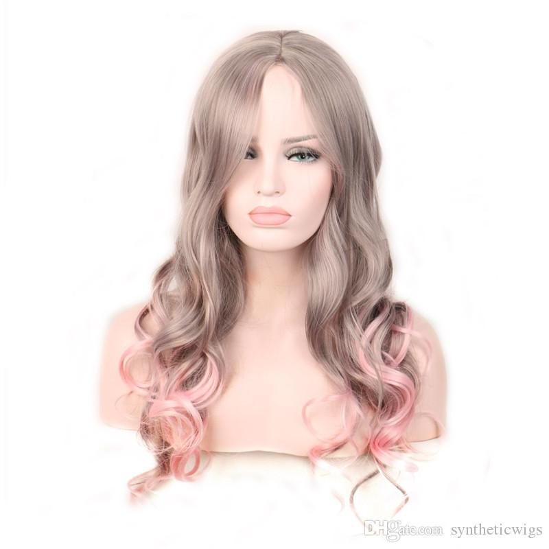 WoodFestival pink synthetic wigs grey curly ombre cosplay long hair wigs heat resistant women 65 cm