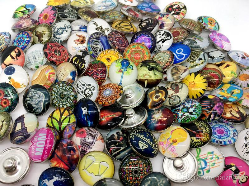 Ginger Snap 50pcs Mix Style Glass Charm Snap Button Interchangeable 18mm Chunk Snap Jewelry Wholesale Lot
