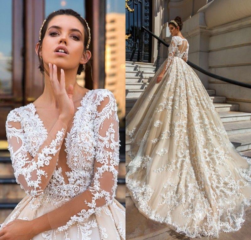 Long Sleeve Lace vestido de baile vestidos de noiva robe de mariage Applique vestido de noiva de renda de luxo vestidos de noiva
