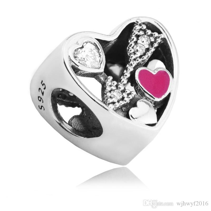 Valentine Struck By Love Charms Bead Fit Brand Bracelet Authentic 925 Sterling-Silver-Jewelry Cupid Arrow Heart Beads DIY Fashion Jewelry
