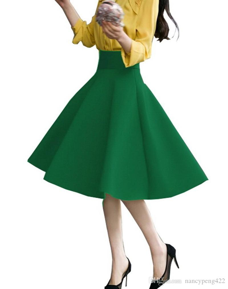 높은 허리 주름 우아한 스커트 그린 블랙 화이트의 무릎 길이의 플레어 스커트 패션 여성 Faldas SAIA 5XL 플러스 사이즈 여성 Jupe