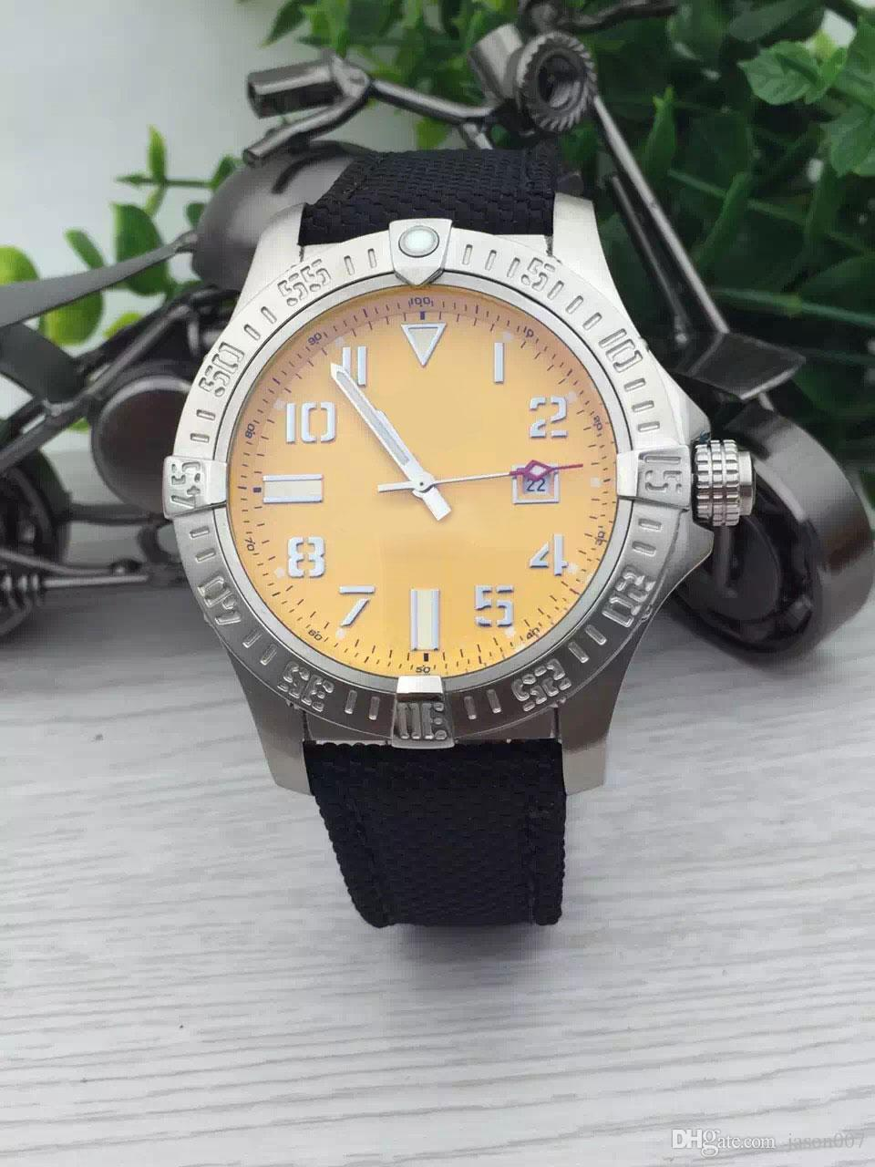 DHgate Selected Store New Watches Men Yellow Dial Nylon Band Watches Automatic Mechanical Mens Dress Watches