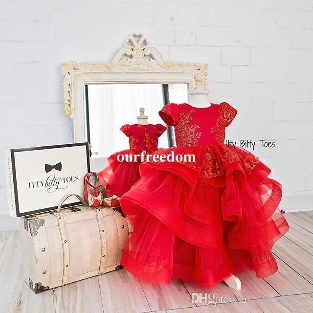2019 rot Appliques Kurzarm Blumenmädchen Kleider Stufenröcke Organza Kinder Festzug Kleid Erstkommunion Kleider Nach Maß