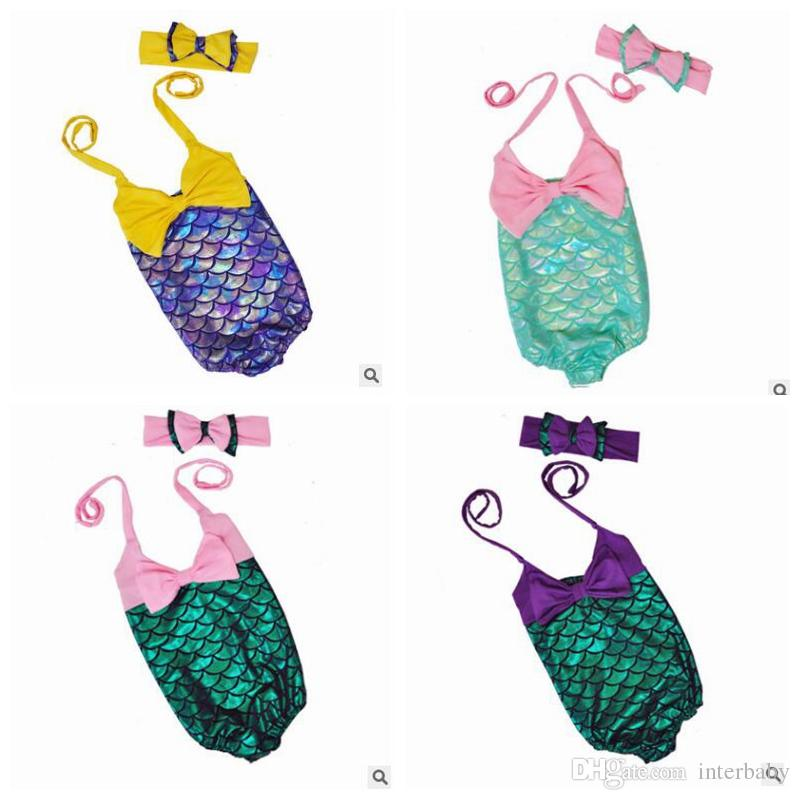 فتاة حورية البحر الاطفال حورية البحر ذيل الاستحمام الدعاوى بيكيني القوس عقال الكرتون أغطية ملابس السباحة ملابس السباحة مجموعات j499