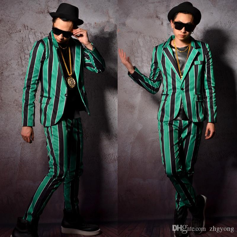 (jacket+pants) green black striped suit male singer dancer stage costumes prom performance set super star show for DJ DS party clothing wear
