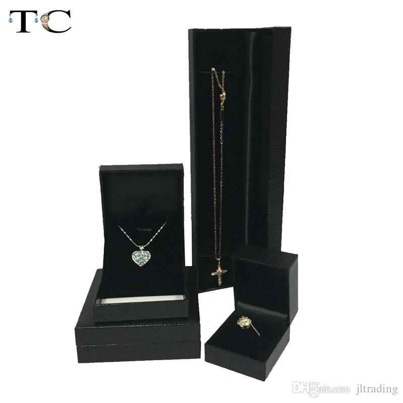 4pcs/lot Ring Box Neclace Pendant Earrings Cases Jewelry Gift Boxes Organizer Cases Black Leatherette Packaging Gift Box Free Shipping