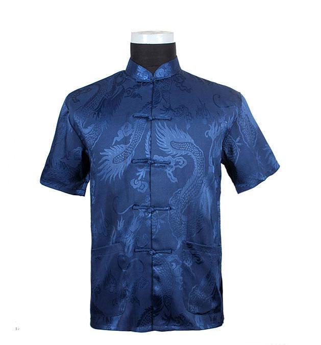 Patrón Dragón azul camisas de manga corta de tradición al por mayor envío libre! ¡Caliente Sae china hombres del estilo M-L-XL-XXL-3XL