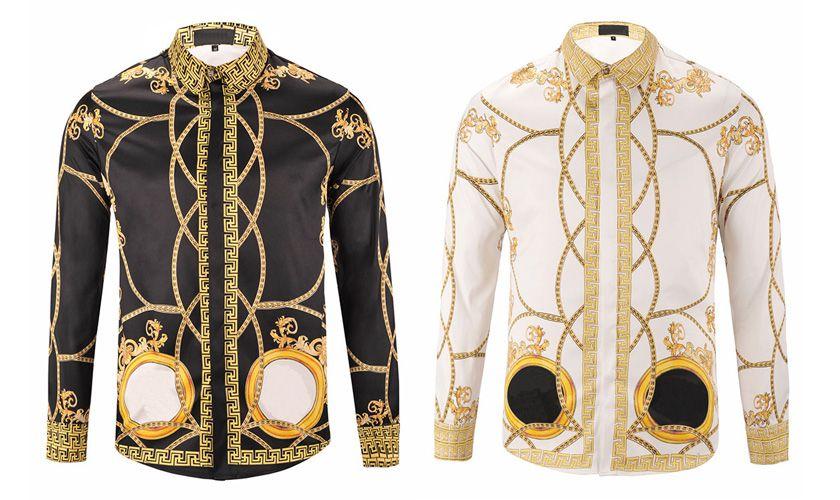 chemises pour hommes avec des manches longues chaine dorée chemises imprimées Dog Rose Pulls floraux rétro Luxe Casual harajuku 3d t-shirt homme Tops Tees
