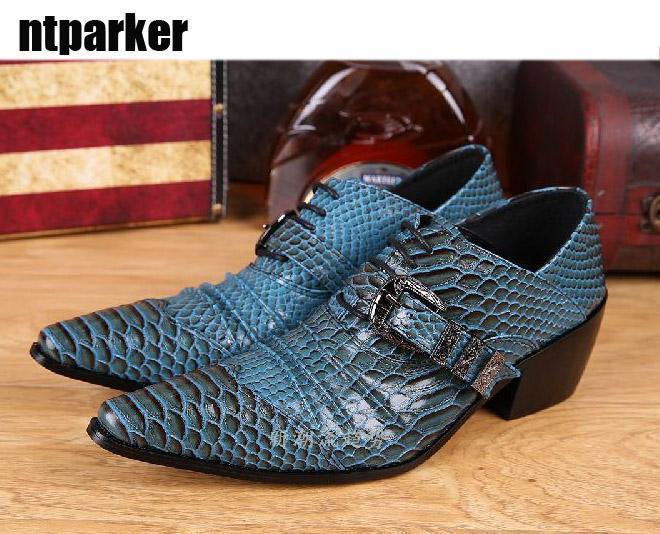 Les chaussures en cuir de l'homme coréen La hauteur des chaussures pointues a augmenté stade chaussures de styliste de la discothèque bar de l'homme, chaussures de ville!