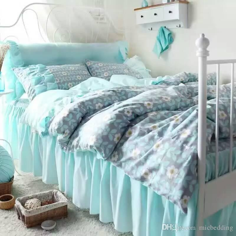 sweek garden bedskirt bedding set ,four piecse per set,cotton fabric with reactive printing blue and white color 1.2m to 2.0m bed suitable
