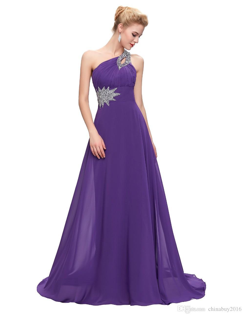 Venta al por mayor Vestidos de dama de honor largos de gasa Un ...