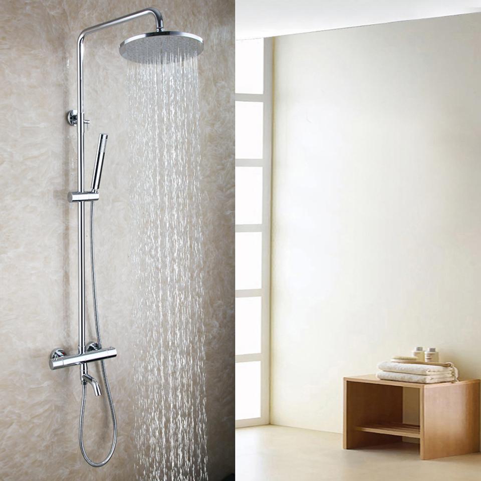 Exposed Bath Thermostatic Shower Mixer Faucet Set 10 Inch Round Rain Bathroom Shower Head Brass Hand Shower 2105