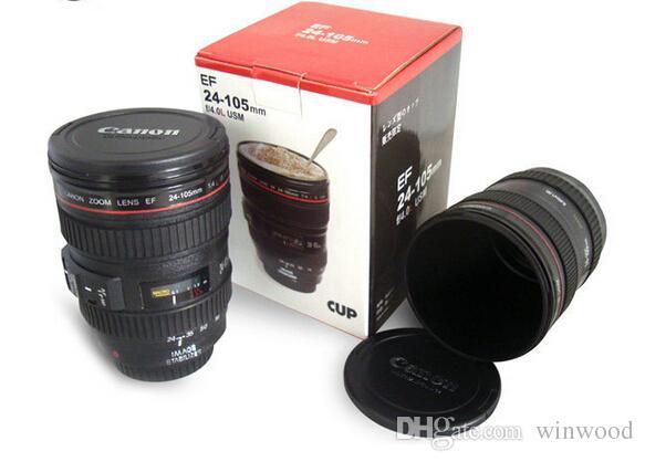 Cámara de la taza de la lente del café Taza de acero inoxidable Taza de viaje Taza de café térmico con tapa de capucha 420 ml Negro DHL gratis