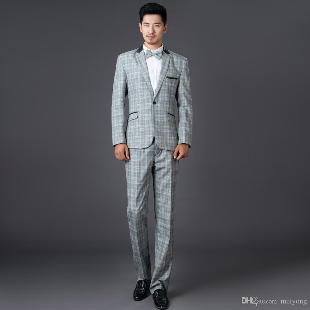 Grey Fashion Plaid Formal Dress Set Men Suit Latest Coat Pant