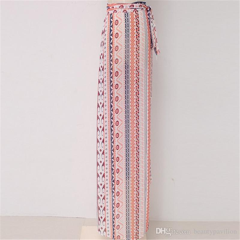 e74837305d ... 3 Designs New Irregular Long Skirt Women Vintage Stripe Floral Print  Side Slit Wrap Maxi Skirt ...